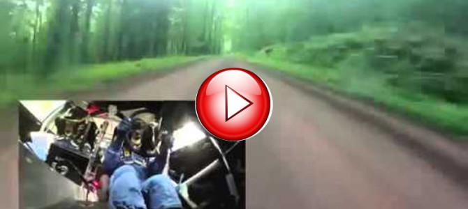細い山道を信じられない速度で爆走する、スバルラリーチームの車載映像!