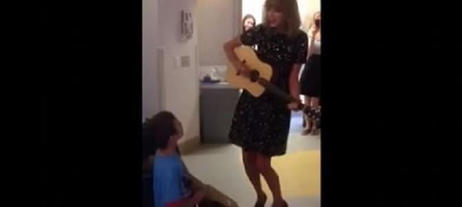 テイラー・スウィフトがお忍びでガン闘病中の少年を訪問!少年と一緒に歌う姿に勇気づけられる人々