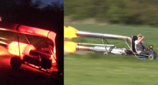 ゴーカートにジェットエンジンを搭載して時速90kmで爆走!