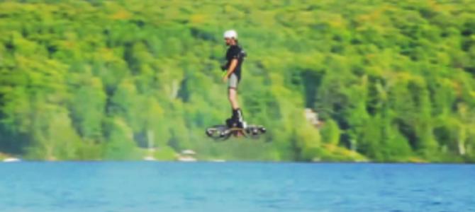 人が乗れるマルチコプターが凄い!ホバーボードのように水面を滑空!!