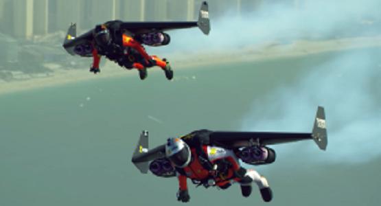 生身の人間がジェットエンジン付きの「翼」で時速300キロでドバイの空を飛ぶ!
