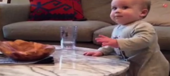 ママが「ダメ!」と言うのに笑顔でコップを落とそうとするドSな赤ちゃんw