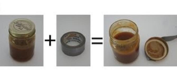 固くて開かないフタも、ガムテープで簡単に開けられる!!