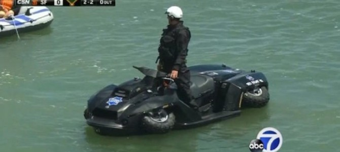 サンフランシスコ市警で導入された、四輪バギーになるジェットスキー「Quadski」が凄い!!