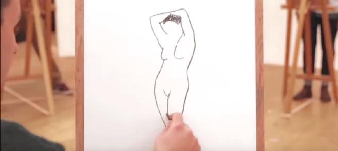 ヌードモデルを360度囲んでデッサン…完成した絵を繋げてみると驚きの結果に!