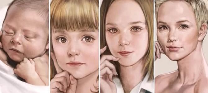 赤ん坊から少女…そして大人の女性へ!一枚の絵が成長していくライブアートが凄い!