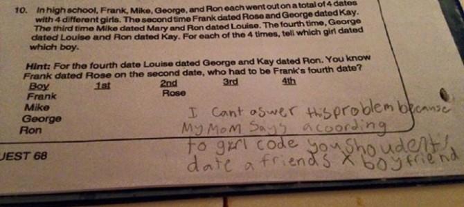 「友達の元彼とデートなんて…」小学4年生の少女の算数の問題の解答が話題