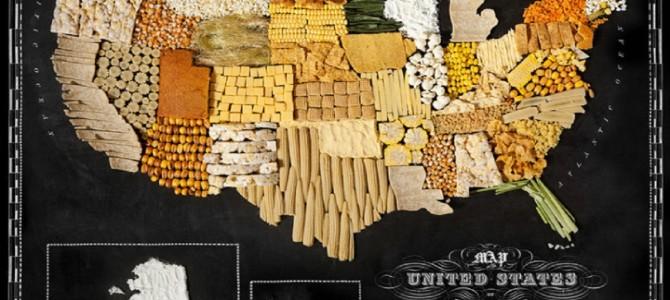 世界各所の地図を食べ物で作ったらこうなった!日本は当然お米かと思いきや