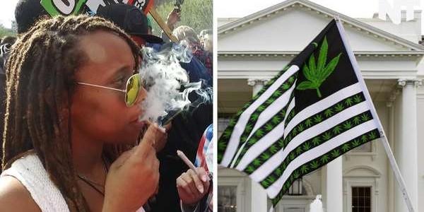 ホワイトハウスの前で数百人がマリファナ(大麻)を吸う!