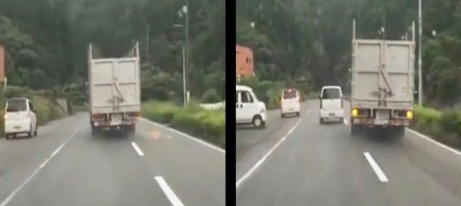 【危険運転】徳島で危険すぎるアオり&蛇行運転をするトラックが話題に!