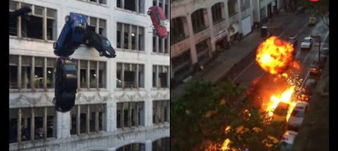 CG一切なし!ビルから車が落下し大炎上!映画「ワイルド・スピード8」のカースタントが凄すぎる!!