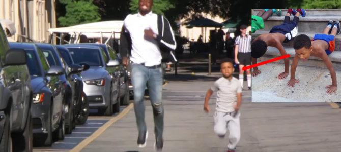ボルト選手があの腕立て少年とレース!その「走り方」にボルトの優しさを感じずにはいられない!