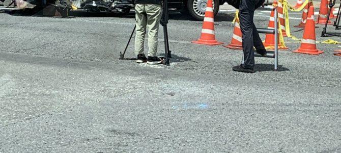 京都府京都市南区にある東寺付近の国道1号線で作業車とタクシーが衝突し歩道に乗り上げる事故