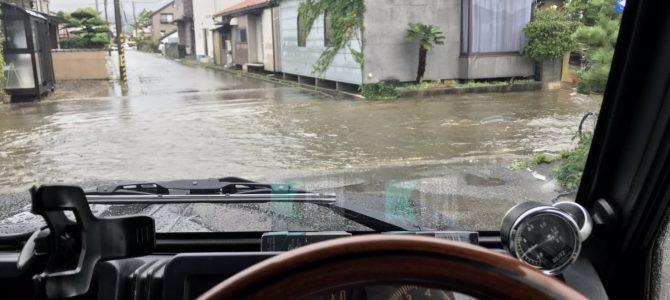 石川県七尾市でゲリラ豪雨が降り冠水