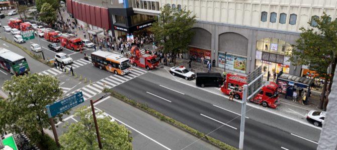 福岡県福岡市中央区天神のイオンショッパーズで火事