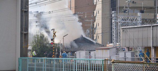 阪急京都線の正雀駅付近で大規模な沿線火災