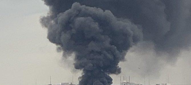 大阪市住之江区南港南で火事