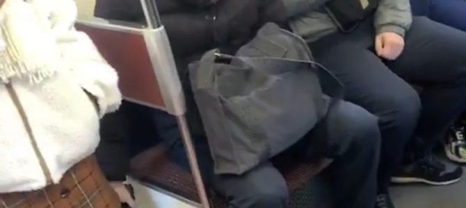 名鉄名古屋本線の知立駅~新安城間の電車内で、男がスマホで盗撮している動画