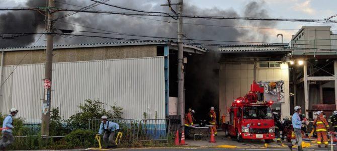 大阪府大東市御領の工場で火事