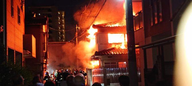 大阪府大阪市旭区太子橋で大規模な火事
