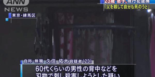 東京都練馬区中村で23歳の男が父親を刃物で刺し殺害する殺人事