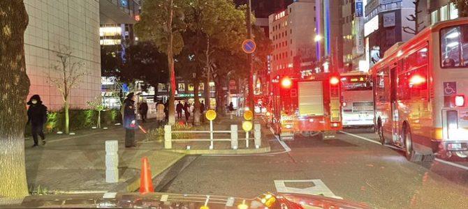 愛知県名古屋市熱田区金山町で大量の緊急車両が集結