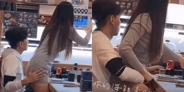台湾の回転寿司でカップルが愛し合いながら食事をしている画像が拡散