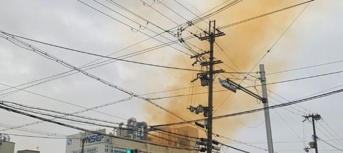 豊中市のアルミ加工工場で火事